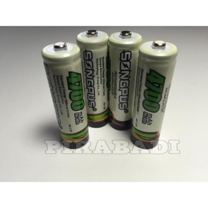 4 piles accus rechargeable aa songplus ni mh 4700 mah lr04 - Pile aa rechargeable ...