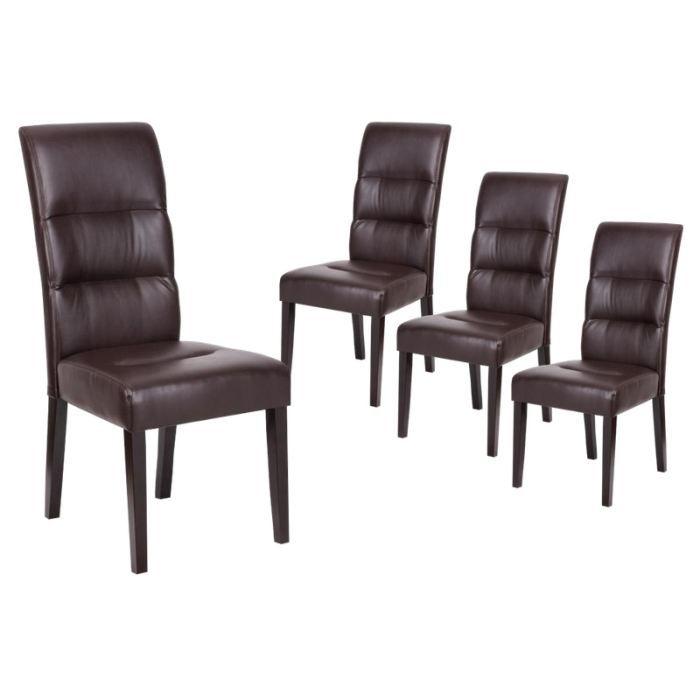 Daphn lot 4 chaises marron achat vente chaise - Chaise en cuir marron ...
