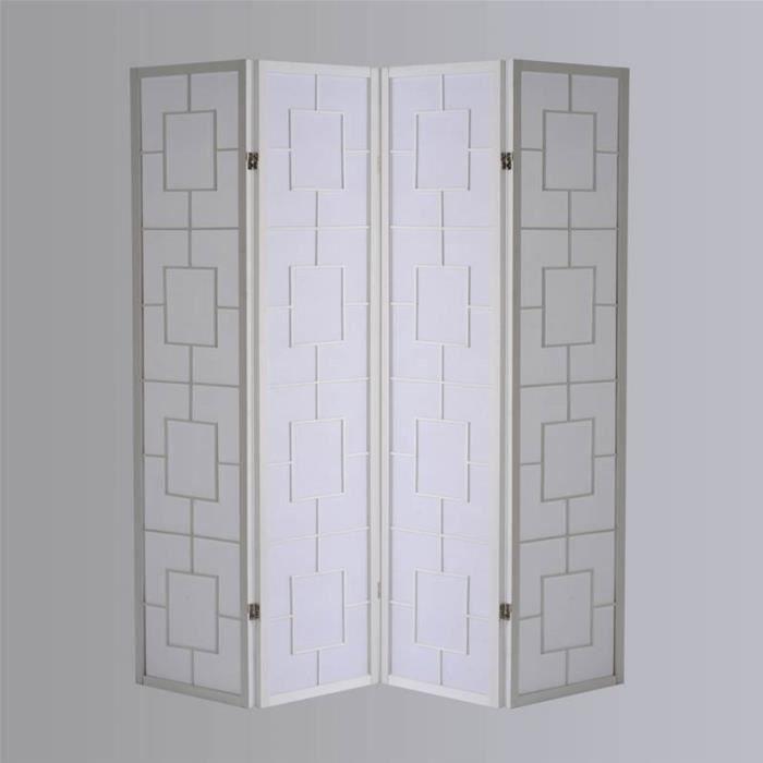 paravent bois japonais kwai blanc 4 pans achat vente paravent cdiscount. Black Bedroom Furniture Sets. Home Design Ideas