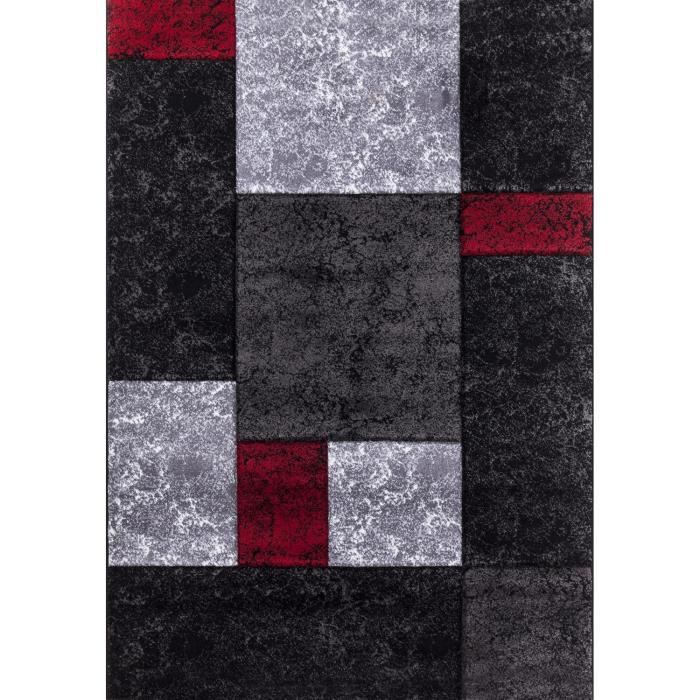 tapis de salon lima rouge gris et noir 120x170 cm achat vente tapis 100 polypropyl ne. Black Bedroom Furniture Sets. Home Design Ideas