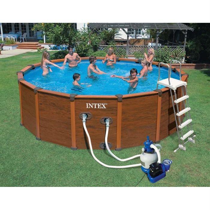 Piscine tubulaire d cor bois sequoia achat vente kit piscine piscin - Piscine tubulaire discount ...