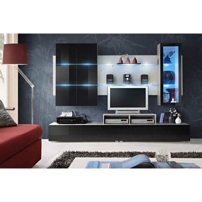Eclips ensemble de meubles de salon couleur blanc noir laqu haute brillance achat vente for Meuble de salon noir