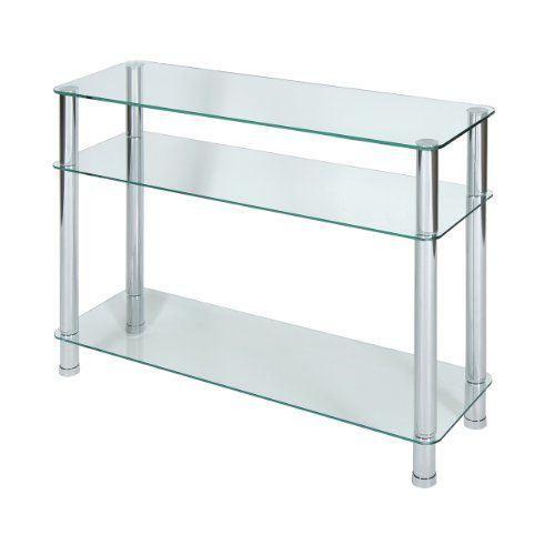 Levv console en verre transparent et pieds chro achat vente console levv - Console en verre trempe ...