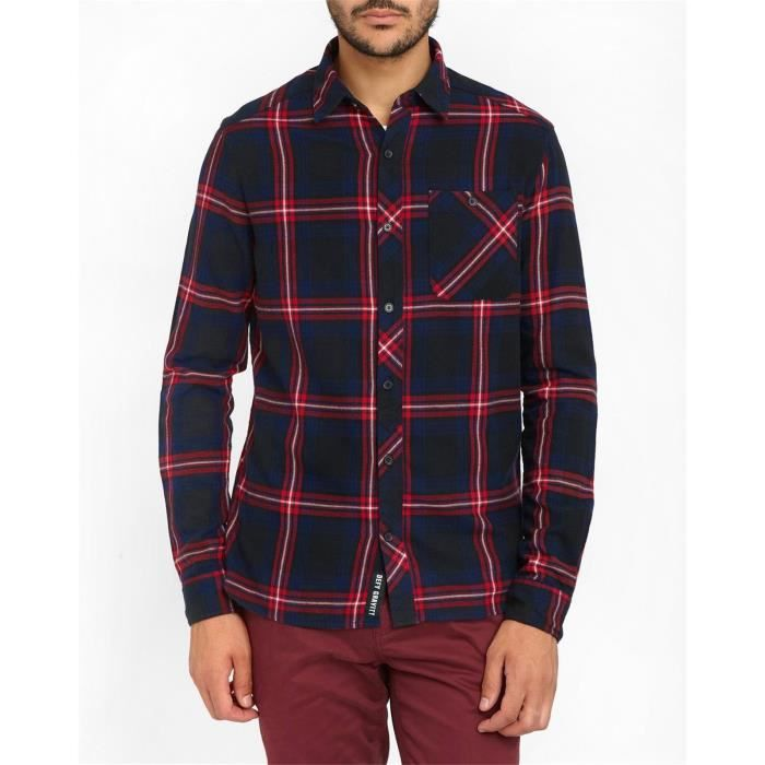 chemise flanelle molok plaid rouge et bleu pour homme bleu bleu achat vente chemise. Black Bedroom Furniture Sets. Home Design Ideas