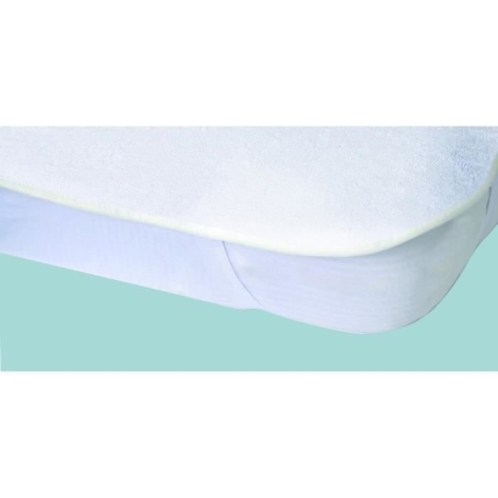 prot ge matelas imperm able elasretane ponge bouclette 100 coton 90x190 cm blanc achat. Black Bedroom Furniture Sets. Home Design Ideas