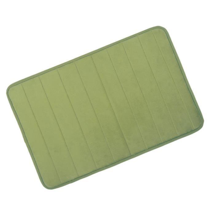 Tapis de salle de bain baignoire salon anti d rapant velours corail 50x80 cm vert achat Tapis de bain mousse memoire