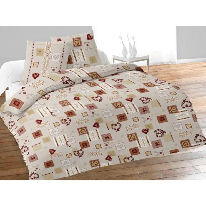 parure housse de couette 240x220 cm en flanelle achat. Black Bedroom Furniture Sets. Home Design Ideas