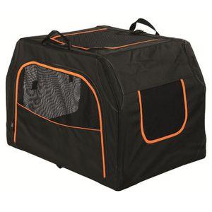 TRIXIE Box de transport Extend - S-M : 68x47x48 cm - Noir et orange - Pour chien