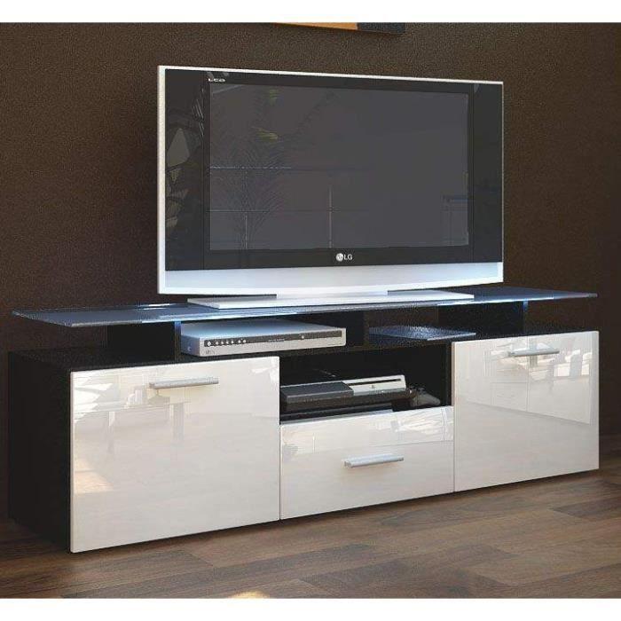 Meuble tv noir blanc avec 7 espaces de rangement achat for Meuble tele rangement