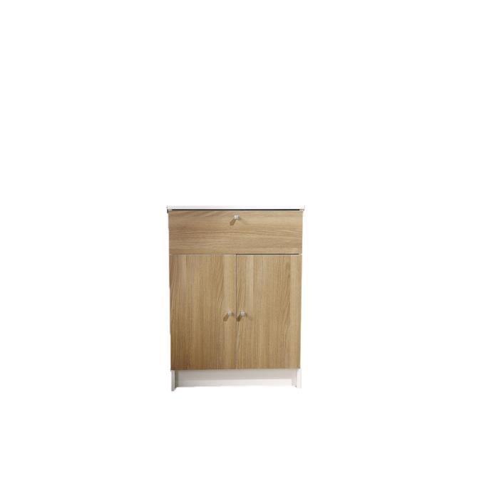1 2 colonne 2 portes couleur ch ne clair 59 cm achat for Colonne salle de bain 59 cm