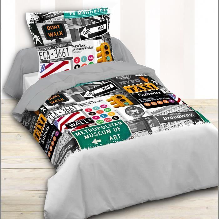 housse de couette london taxi 140 x 200 et 1 taie achat vente housse de couette cdiscount. Black Bedroom Furniture Sets. Home Design Ideas