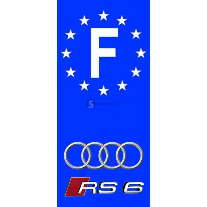 2x stickers plaques d 39 immatriculation audi rs6 fond bleu autos motos 100x45 mm achat vente. Black Bedroom Furniture Sets. Home Design Ideas