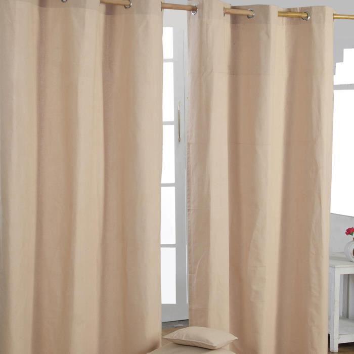 paire de rideaux oeillets uni beige 100 coton 117 x 137 cm achat vente rideau cdiscount. Black Bedroom Furniture Sets. Home Design Ideas