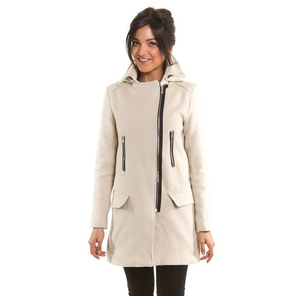 manteau long capuche amovible beige beige achat vente manteau caban cdiscount. Black Bedroom Furniture Sets. Home Design Ideas
