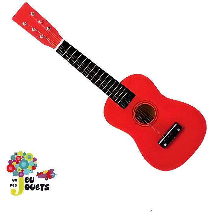 veritable guitare 6 cordes instrument de musique pour enfant 3 ans et plus rouge achat vente. Black Bedroom Furniture Sets. Home Design Ideas