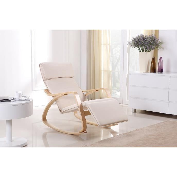 Rocking Chair Chaise Bascule Relaxante Achat Vente Fauteuil Contreplaqu Bouleau Textile
