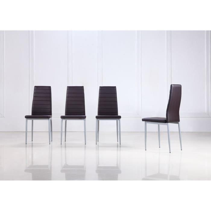 Lot de 4 chaises de salle manger marron fonc achat for Chaise de salle a manger marron