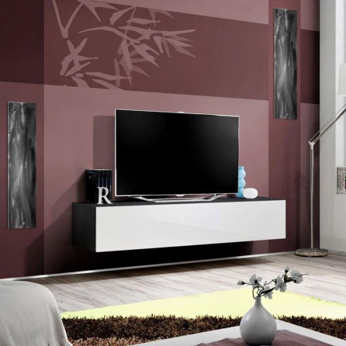 paris prix meuble tv mural design fly i 160cm blanc noir achat vente meuble tv paris. Black Bedroom Furniture Sets. Home Design Ideas