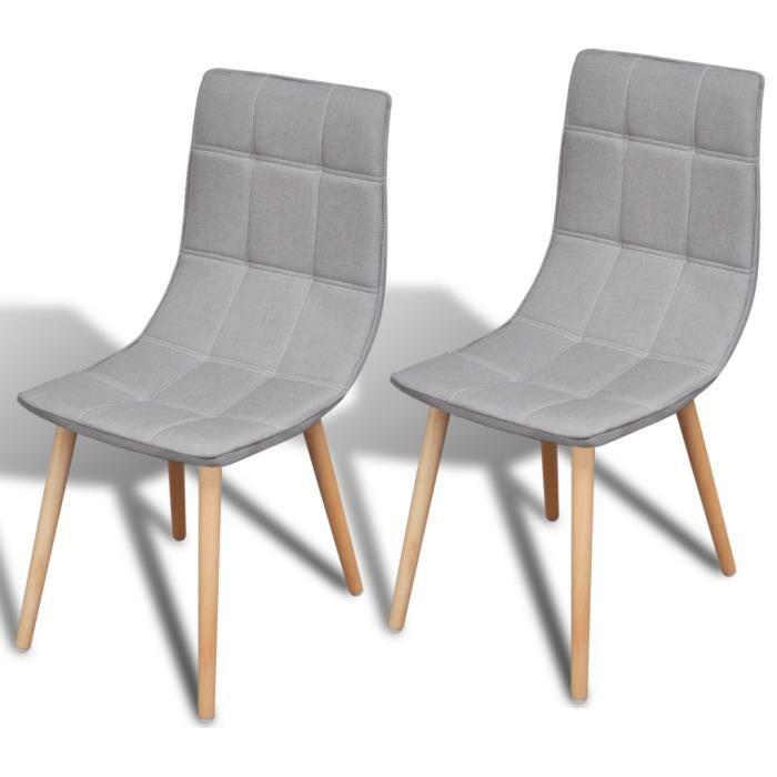 Set de 2 chaises de salle manger gris clair achat for Chaise de salle a manger gris clair