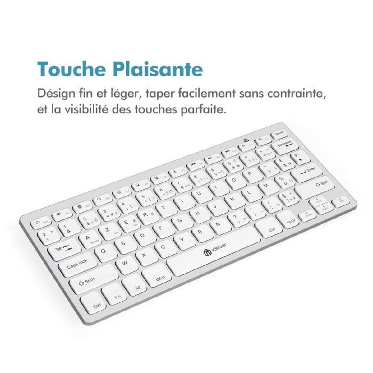 clavier bluetooth azerty iclever mini clavier ultra mince pour ios mac windows android. Black Bedroom Furniture Sets. Home Design Ideas
