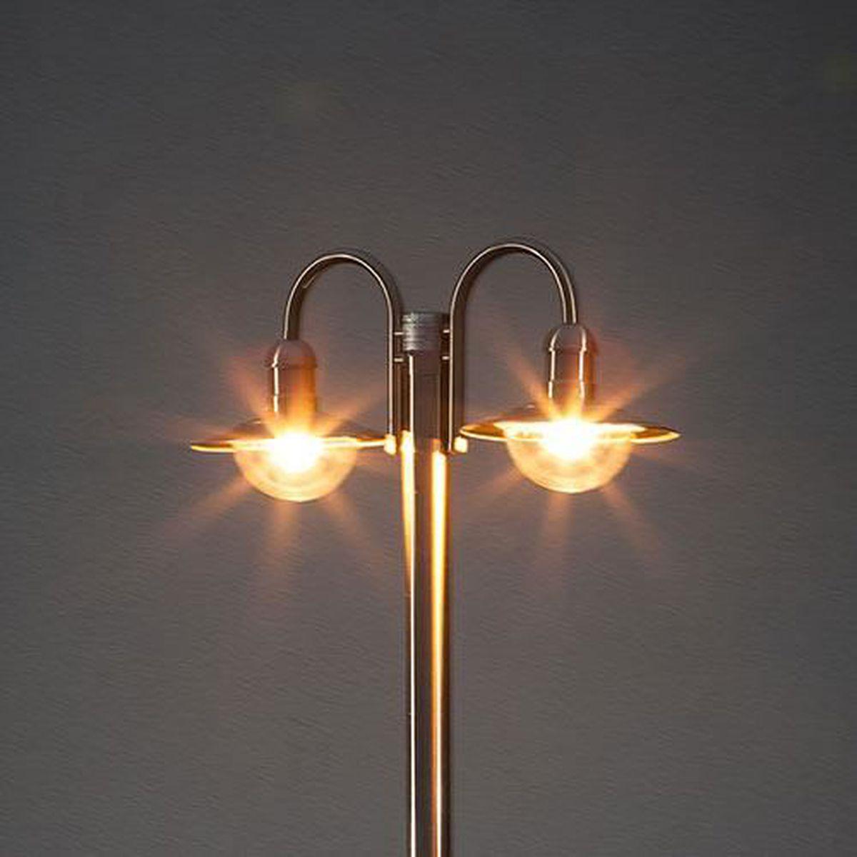 Lampadaire damion en inox 2 t tes de lampe achat for Lampadaire exterieur 2 tetes