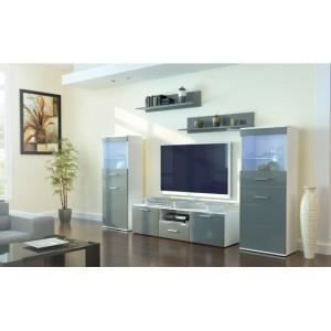 Ensemble de meuble tv design laqu blanc gris achat vente meuble tv en - Ensemble meuble tv design ...