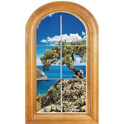 Sticker fenêtre vouté trompe loeil déco Paysage arbre mer réf 650 ...