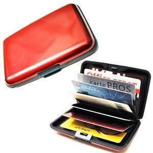Porte carte visite cr dit fid lit en aluminium rouge for Porte carte de fidelite