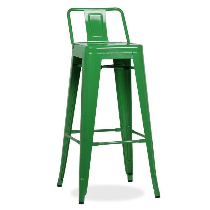 Tabouret haut m tal ural square avec dossier vert unique - Tabouret haut avec dossier ...