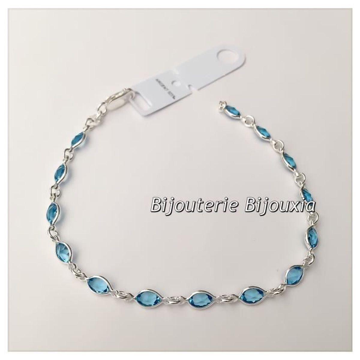 bracelet cristal aigue marine oz argent 925 1000 bijoux femme argent massif 925 1000 achat. Black Bedroom Furniture Sets. Home Design Ideas