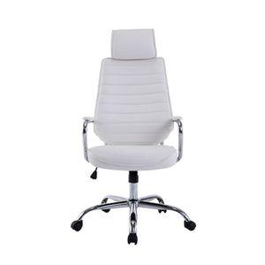 chaise de bureau cuir blanc achat vente chaise de bureau cuir blanc pas cher soldes. Black Bedroom Furniture Sets. Home Design Ideas