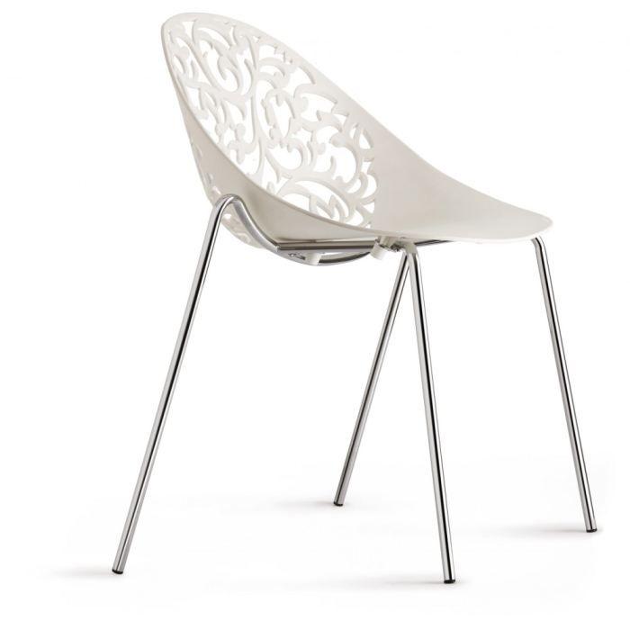 Lot de 2 chaises jena couleur blanc achat vente chaise plastique polypro - Chaise blanche plastique ...
