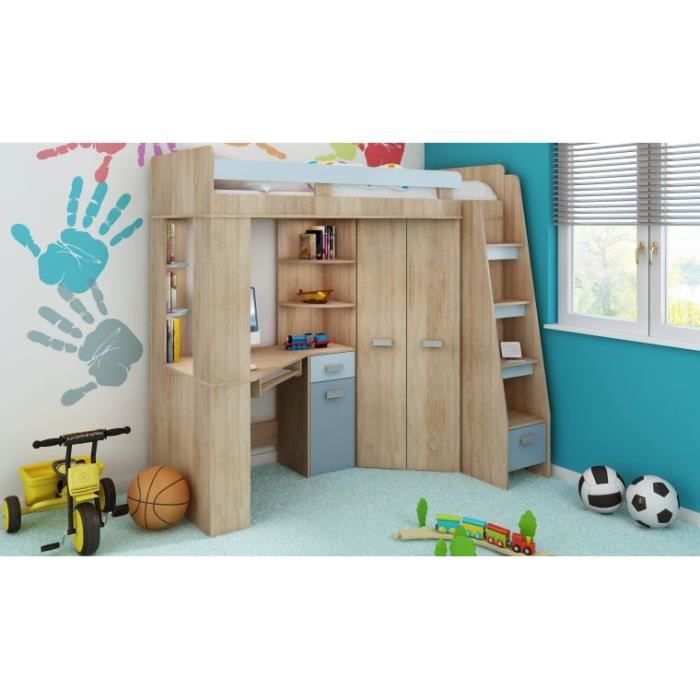 Lit en hauteur avec bureau et armoire young bleu droite for Armoire et lit adulte