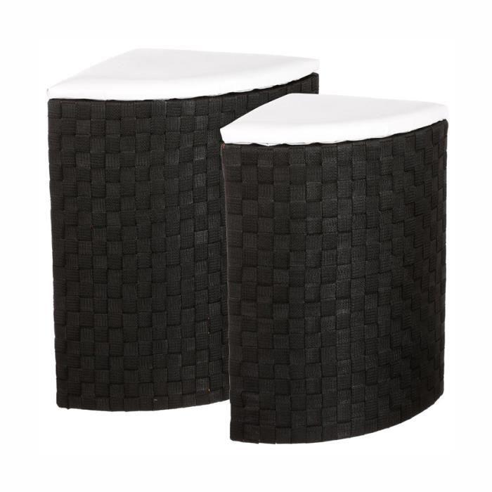 lot de 2 paniers linge d 39 angle noir achat vente panier a linge lot de 2 paniers linge d. Black Bedroom Furniture Sets. Home Design Ideas