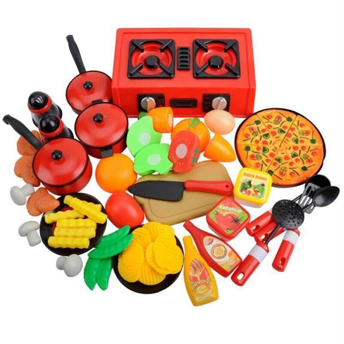 56pcs jouet d 39 enfants mod le de fruit vegetable vaisselle ustensiles de cuisine achat vente. Black Bedroom Furniture Sets. Home Design Ideas