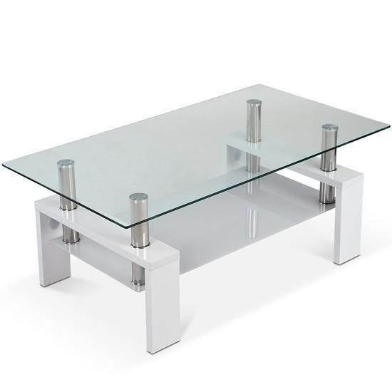 table basse avec plaque de verre disponible en 2 couleurs blanc achat vente table basse. Black Bedroom Furniture Sets. Home Design Ideas