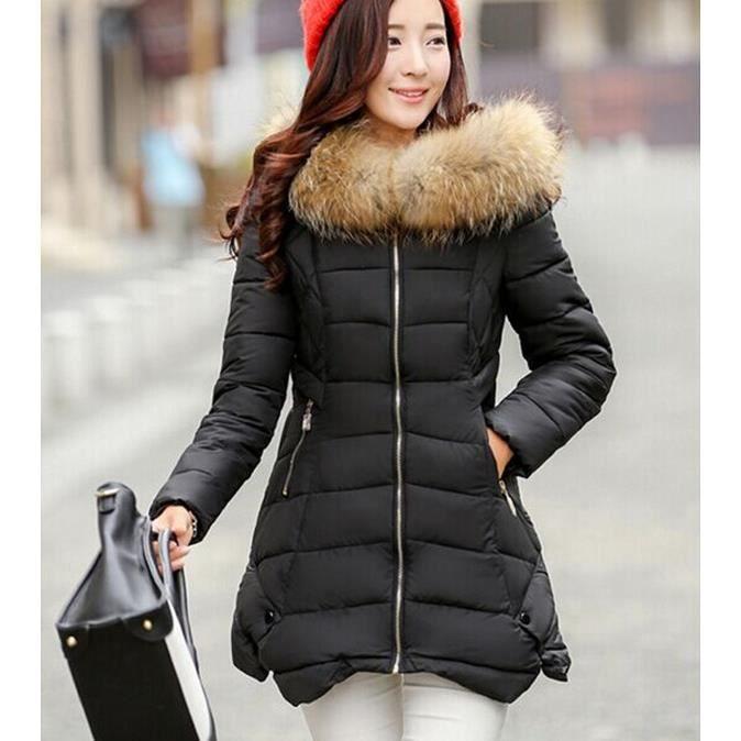 nouvelle arrivee longue noir manteau femme mode hiver svelte col de fourrure parka manteau noir. Black Bedroom Furniture Sets. Home Design Ideas
