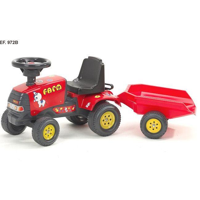 Falk porteur tracteur farm pony rouge avec remorque achat vente tracteur chantier cdiscount - Tracteur remorque enfant ...