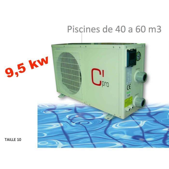 Pompe a chaleur piscine 9 5 kw echangeur titane pvc for Consommation pompe a chaleur piscine