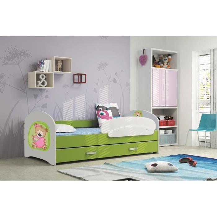 Lucky 160x80 vert lit pour enfant avec rangement sommier matelas motif au cho - Lit pour fille avec rangement ...