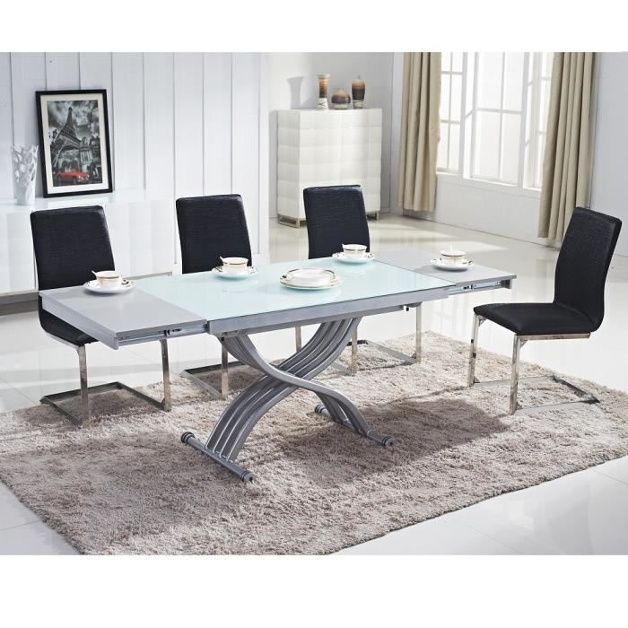 table relevable reality verre blanc blanc achat vente table basse table relevable reality. Black Bedroom Furniture Sets. Home Design Ideas