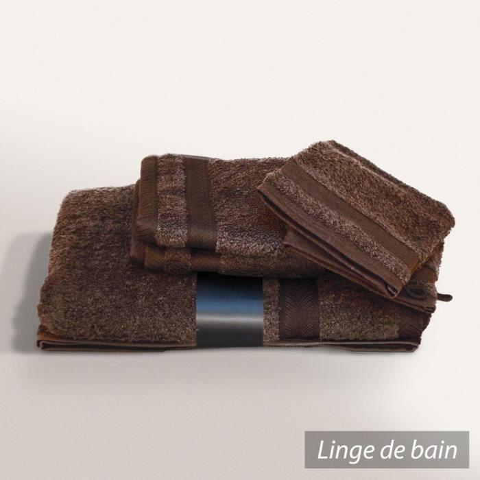 parure de bain 5 pi ces royal cresent chocolat 650 g m2 achat vente parure de bain cdiscount. Black Bedroom Furniture Sets. Home Design Ideas