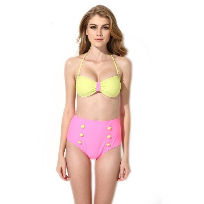 maillot de bain bikini femme taille haute t s m l noir. Black Bedroom Furniture Sets. Home Design Ideas