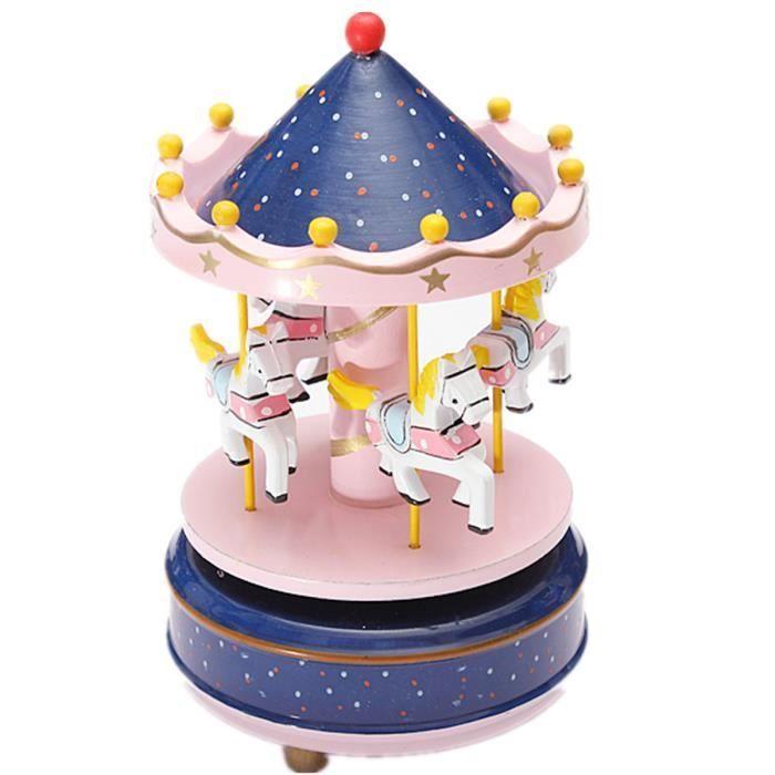 boite musique carrousel bois man ge joyeux jouet cadeau. Black Bedroom Furniture Sets. Home Design Ideas