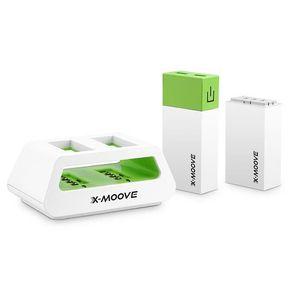X-Moove Powergo Twin Batterie externe pour Smartphone/Tablette 2 x 5000 mAh Blanc