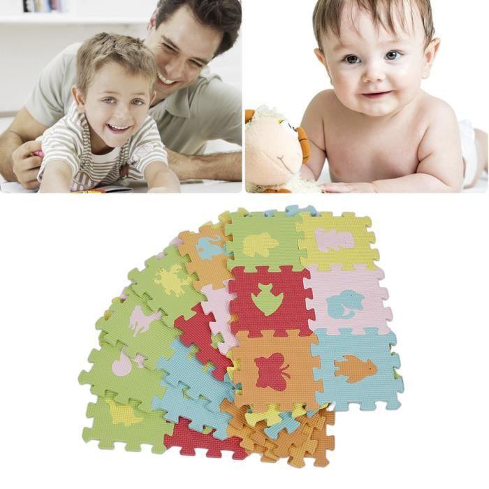 Lot de 36 pi ces de tapis puzzle animaux epais 9mm - Tapis epais pour bebe ...