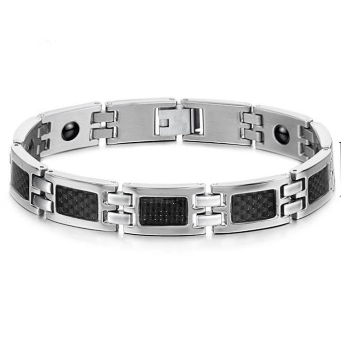 BRACELET , GOURMETTE Bracelet homme acier magnetique fibre de carbone
