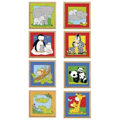 puzzles en bois maman b b animaux lot de 8 achat vente puzzle les soldes sur. Black Bedroom Furniture Sets. Home Design Ideas