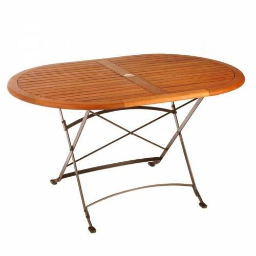 Table ovale eucalyptus fer forg medicis achat vente for Table jardin fer forge occasion