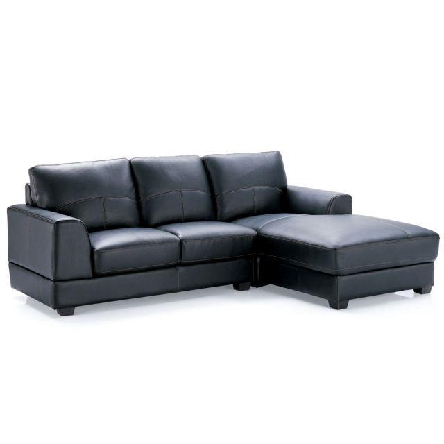 Canape d 39 angle sandro 4 places cuir noir achat vente canap sofa - Canape de bonne qualite ...